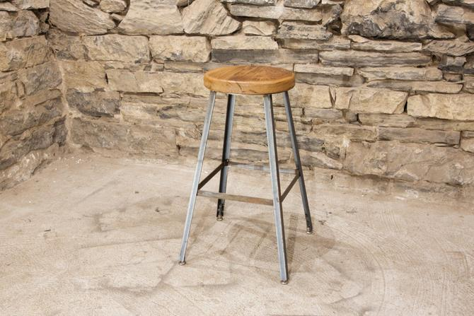FREE SHIPPING - Basic Brew Industrial Bar Stool from Reclaimed Barnwood by BarnWoodFurniture
