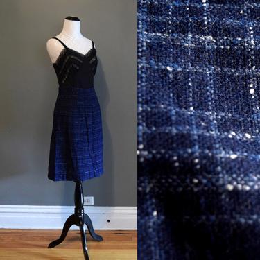 50s Pencil Skirt | Blue Skirt | Wiggle Skirt | Checkered Skirt | Small Skirt S | Size 4 Skirt | Mid Century Skirt | Pin Up Skirt | Vintage by aphroditesvintage