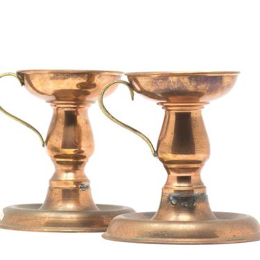 Pair of Copper Candlestick Holders, Copper Taper Candle Holders by GreenSpruceDesigns