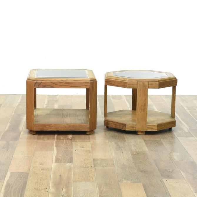 Pair Of Danish Modern Style Oak End Tables
