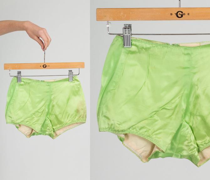 1960s Green Satin Swim Shorts - Youth Medium   Vintage 60s Retro Swimming Trunks by FlyingAppleVintage