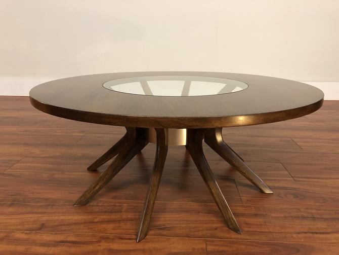 Broyhill Brasilia Cathedral Walnut and Glass Coffee Table by Vintagefurnitureetc