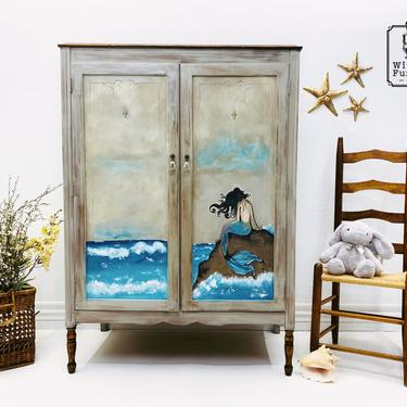 Nautical Painted Wardrobe. Vintage Seaside Inspired Armoire. Refinished Artistic Dresser. Coastal Furniture. Mermaid Girls Bedroom Chest by withlovefurniture10