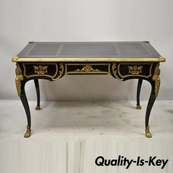 French Louis XV Black Lacquer Bronze Figural Ormolu Bureau Plat Writing Desk