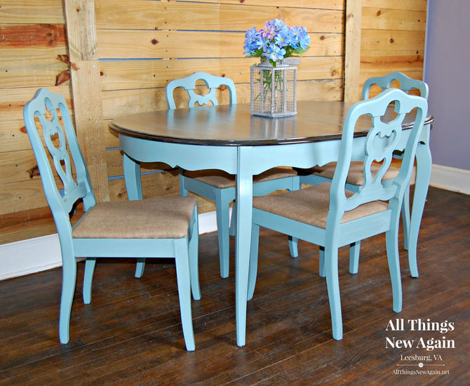 Dining Table And 4 Chairs Set Painted Vintage Duck Egg Blue Stained Top French Country Shabby Chic By