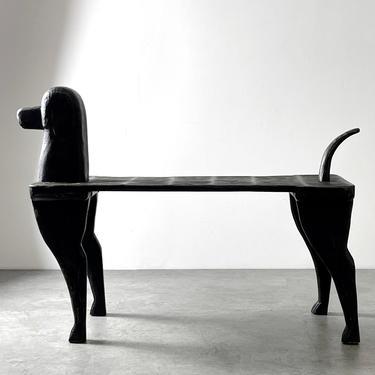 Post Modern Carved Wooden Dog Bench Stephen Huneck Attr by 20cModern