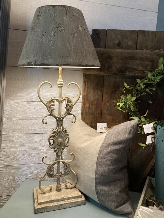 Metal Scroll Lamp with Matching Metal Shade