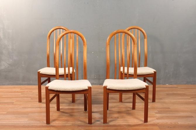 Set of 4 Danish Modern Teak & Wool Dining Chairs – ONLINE ONLY