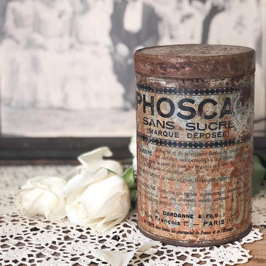 """1930s French Tin - Breakfast Cocoa """"Phoscao Sans Sucre"""" by CollectedATX"""