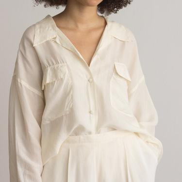1980s Oversize Creme Silk Blouse by waywardcollection