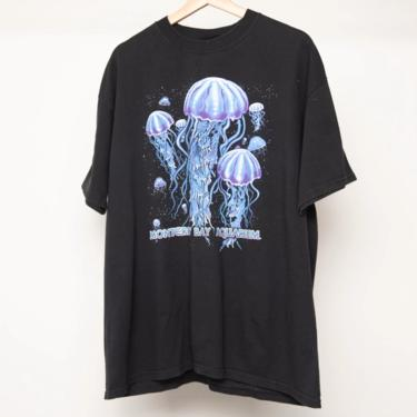 vintage JELLYFISH late 90s y2k underwater electric blue on BLACK vintage men's t-shirt -- size xl by CairoVintage