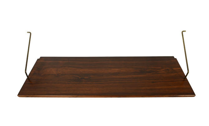 Rosewood Shelf and Brass Brackets 12 inch by HG Furniture Hansen Guldborg Danish Modern by HearthsideHome