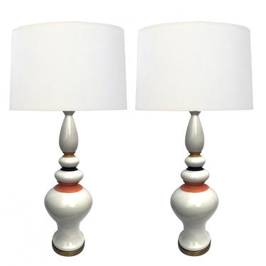 Shapely Pair of 1960's White-glazed Ceramic Lamps with Mustard, Black and Coral Highlights