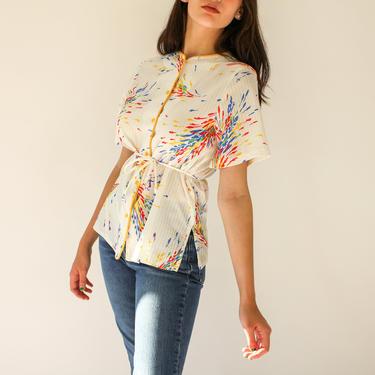 Vintage 70s Rainbow Floral Plaid Top | Bohemian Blouse | 100% Polyester | 1970s Bohemian Rainbow Floral Sunburst Peplum Tie Waist Blouse by TheVault1969