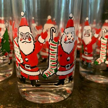 Vintage Christmas Santa Glasses Set of 6 Christmas Glasses by TheFINDstuff4thehome
