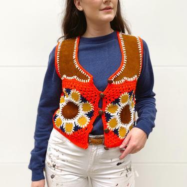 Orange Afghan Suede Knit Vest