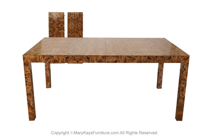 Mid Century Burl Wood Parsons Dining Table in the Style of Milo Baughman by Marykaysfurniture