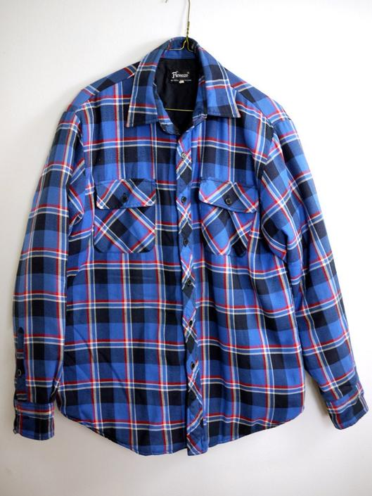 Blue Plaid Quilted Flannel Button Down Work Shirt Jacket by citybone