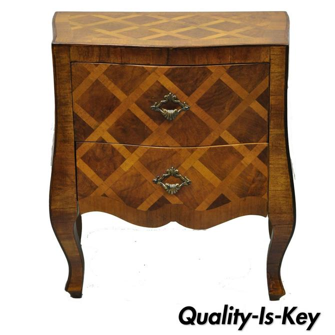 Miniature Italian Burl Wood Olivewood Inlaid Louis XV Small Bombe Commode Chest