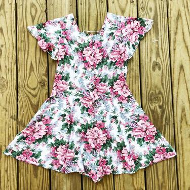Vintage 90s Joni Girl White Pink Blue Green Floral Spring Summer Short Jumpsuit Playsuit Romper XS/S by VernasVintageShop