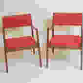 Pair Of Jens Risom Walnut Arm Chairs Circa 1950