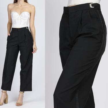 Vintage Black Cinched Waist Suit Trousers - Medium | 80s 90s Straight Leg Minimalist Pants by FlyingAppleVintage