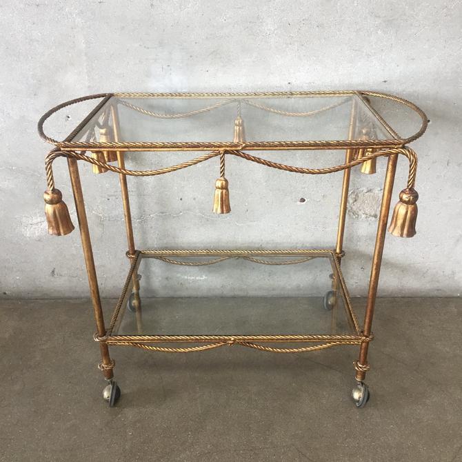 Italian Tole Gold Rolling Tea / Bar Cart