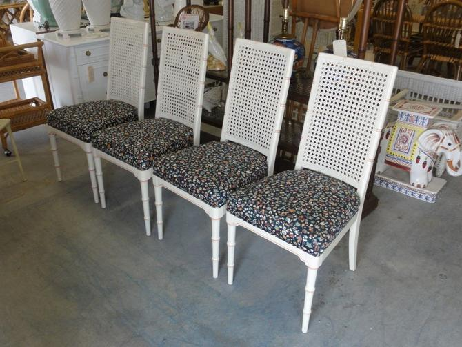 Set of 4 Faux Bamboo & Cane Side Chairs