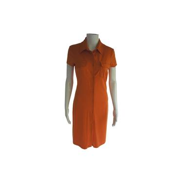 Armani Jeans Orange Shortsleeved Midi with Breast Pockets Short Casual Dress Size: 8 (M) by MetronomeThreads