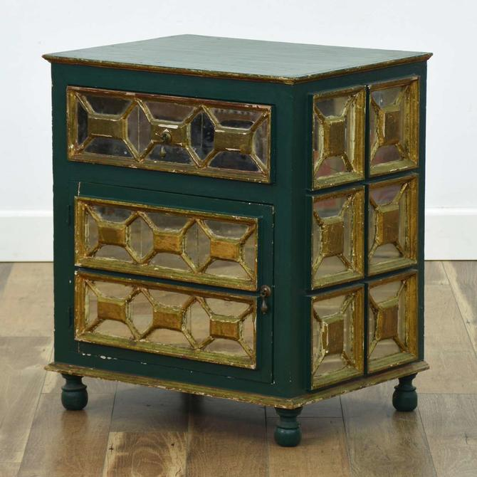Green Painted Mirrored Nightstand W/ Cabinet