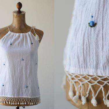 70s Vintage White Hand Embroidered Drawstring Tank, Cotton Gauze Sleeveless Crochet Spaghetti Strap Blouse Ethnic Gauzy Tent Top Boho Hippie by MOBIUSMOD