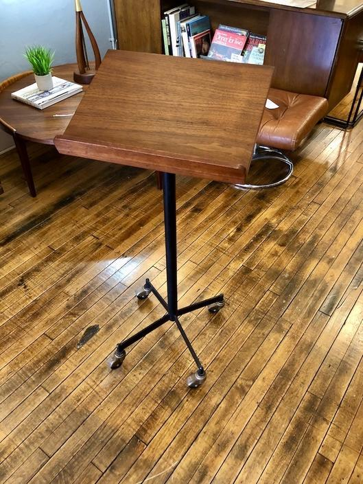 Vintage Teak Rolling Music\/Book Stand 1960's