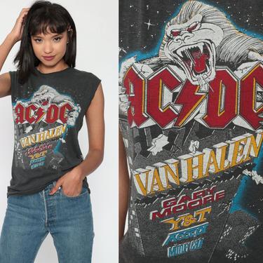 Metal Tank Top 80s MONSTERS of ROCK Band Tshirt 1984 Van Halen Shirt Motley Crue Tee Concert ACDC Heavy Metal T Shirt Vintage Small Medium by ShopExile