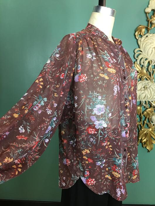 1970s blouse, vintage tunic, brown floral blouse, botanical print, medium large, sheer cotton, dolman sleeve, hippie shirt, bohemian style by BlackLabelVintageWA
