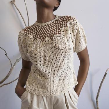 vintage crochet short sleeve knit top / S M by EELT