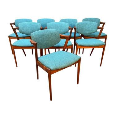 Set of Eight Vintage Danish Mid Century Modern Teak Dining Chairs Model 42 by Kai Kristiansen by AymerickModern