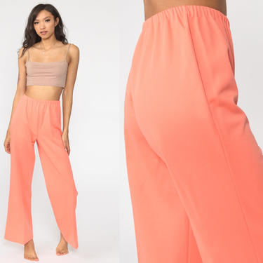 70s Bell Bottoms Pants -- Boho Hippie Bellbottom Peach Polyester Gaberdine Trousers High Waist 1970s Vintage Bohemian Trousers Small xs s by ShopExile