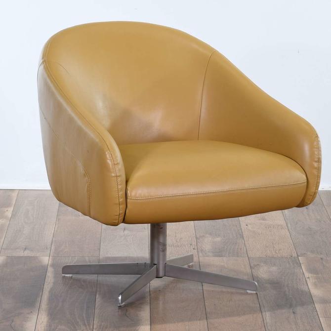 Mid Century Style Mustard Barrel Back Swivel Chair