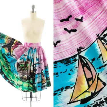 Vintage 1950s Circle Skirt   50s Mexican Novelty Print Hand Painted Cotton Tourist Souvenir Swing Skirt (small) by BirthdayLifeVintage