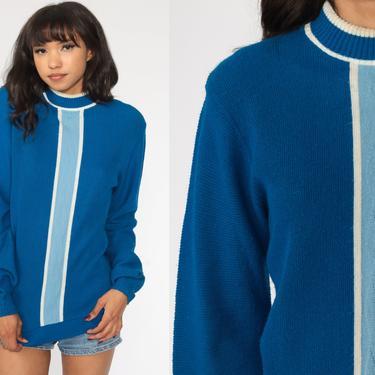 70s Knit Sweater Blue Striped Bohemian Retro Ringer Sweater 1970s Vintage Boho Nerd Sweater Stripes Hippie Medium M by ShopExile