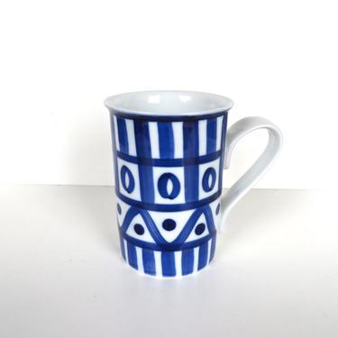 Single Dansk Arabesque Coffee Mug, Cobalt Blue And White Porcelain Dansk Tall Mug, Arabesque Replacement Dishes by HerVintageCrush
