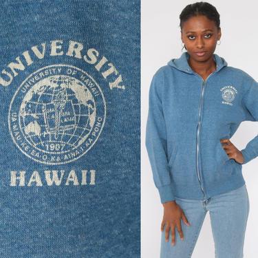 University of Hawaii Sweatshirt Hooded Sweatshirt 80s Hoodie Sweatshirt Hood Zip Up Hawaiian 1980s Sweater Vintage College Medium by ShopExile