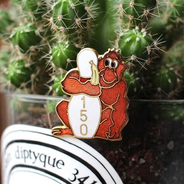 s.a.l.e. Vintage 1980s Bowling Lapel Pin - 150 Game Series Bowler Award Pin Enamel Monkey Brooch by SecondShiftVintage