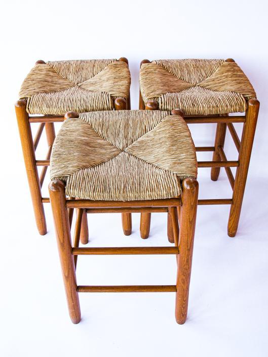 Vintage Danish Mid-Century Modern Jute Woven Stool with Teak Wood Legs  (Sold Separately) by PortlandRevibe