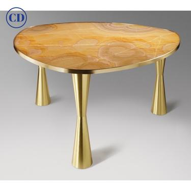Bespoke Italian Satellite Honey Gold Onyx Oval Dining Table on Satin Brass Legs