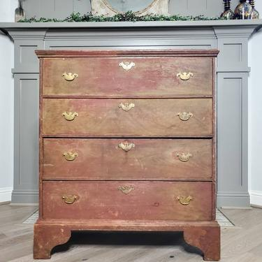 18th Century Early American Queen Anne Style Painted Pine New England Blanket Chest by LynxHollowAntiques