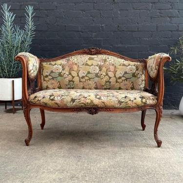 Antique French Style Mahogany Love Seat Sofa, c.1930's by VintageSupplyLA