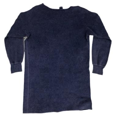(XL) Vintage Navy Long Sleeve Ribbed Cotton Tee 091421 LM