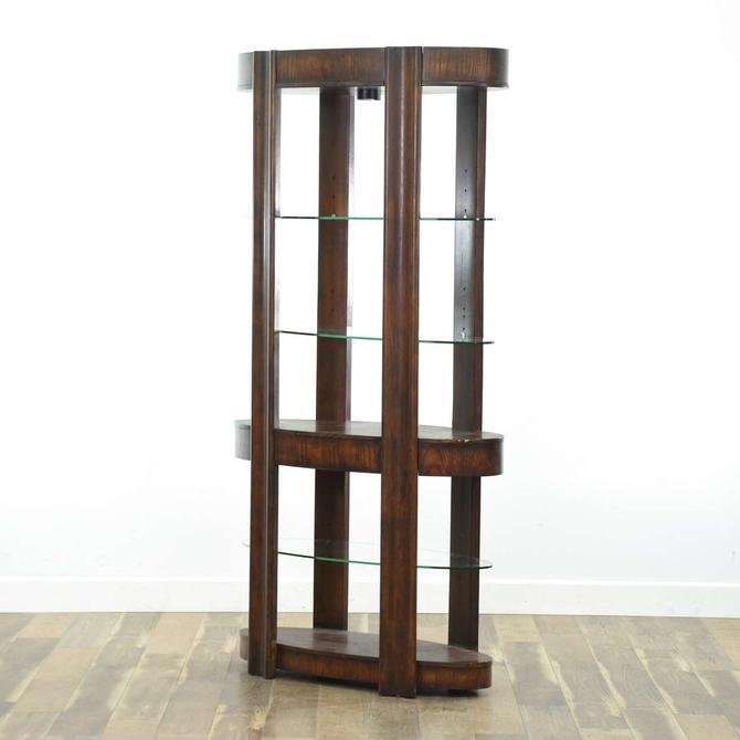 Modern Oval Wood & Glass Light-Up Display Shelf