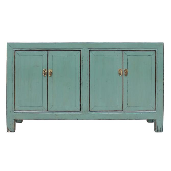 Oriental Distressed Rustic Teal Gray Credenza Sideboard Buffet Table Cabinet cs4896S